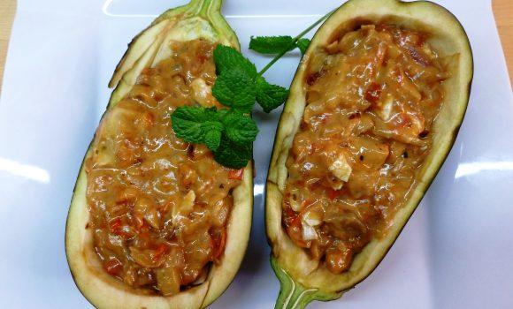 Berenjena rellena de verduras ¡Deliciosa!