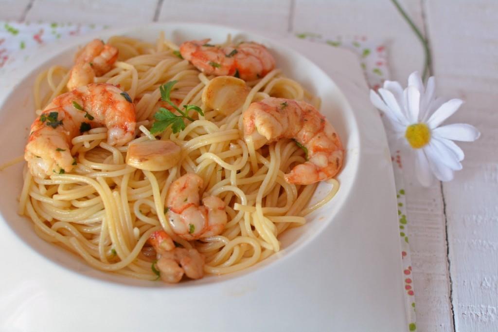 espaguetis con gambas al ajillo simplemente perfectos